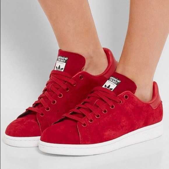 adidas Shoes - adidas original X rita ora red suede stan smiths d169f3f090ac